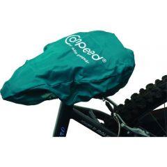 bike seat cover, printed green on white base